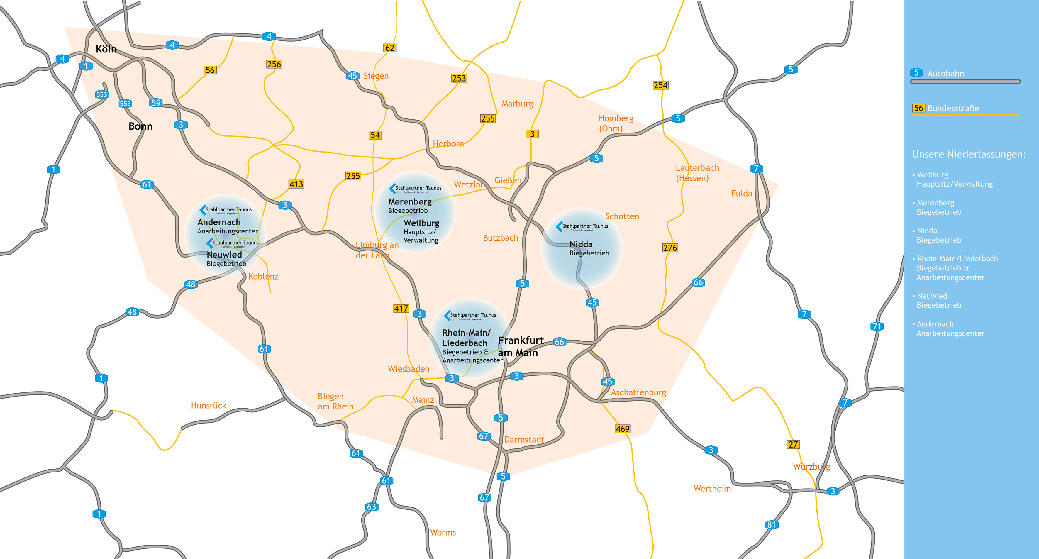 Stahlpartner Taunus Niederlassungen & Liefergebiet