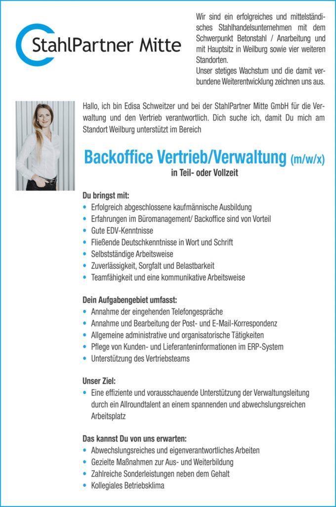 Backoffice Vertrieb Verwaltung Mwx In Vollzeit Oder Teilzeit