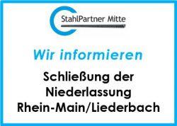 Niederlassung Liederbach geschlossen